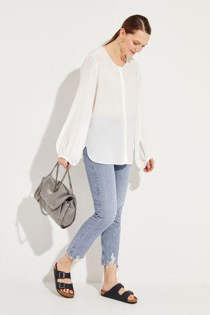 Her Shirt  - Seidenbluse 'Aerin' Crèmeweiß grau