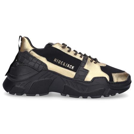 Hide & Jack Sneaker low SPEEDBUMP Kalbsleder Logo gold schwarz grau