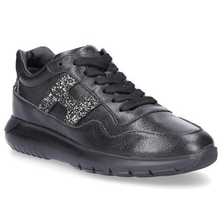 Hogan  Sneaker Glattleder Veloursleder Glitzer Logo schwarz grau