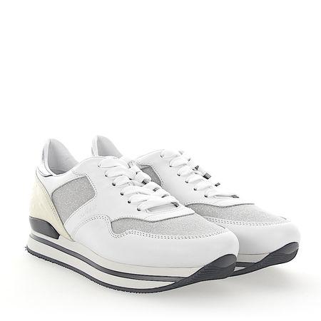 Hogan Sneaker H222 Kalbsleder  Straussenbeinleder Glitzer beige weiß grau