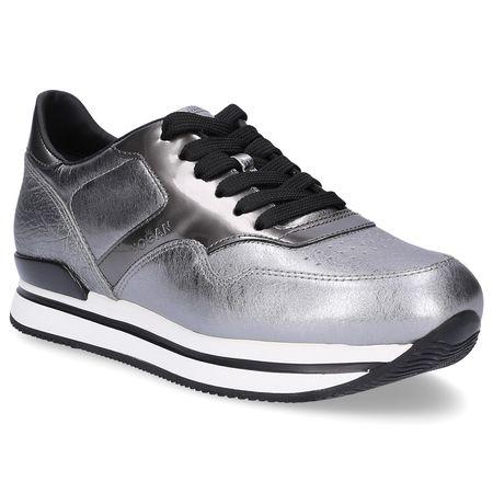 Hogan  Sneaker low Glattleder Lochmuster Logo silber grau