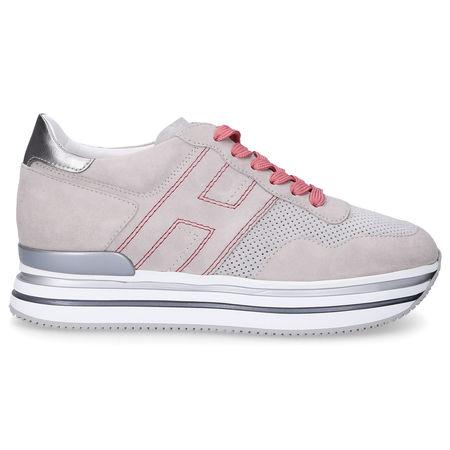Hogan Sneaker low H483 Veloursleder Logo silber grau