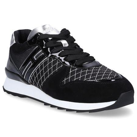 Hogan  Sneaker R261 Lackleder Veloursleder Kontrastnaht Logo schwarz silber schwarz
