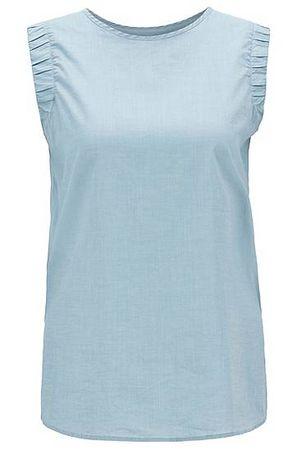 HUGO BOSS Ärmellose Regular-Fit Bluse aus Baumwoll-Mix mit gesmokten Armlöchern grau