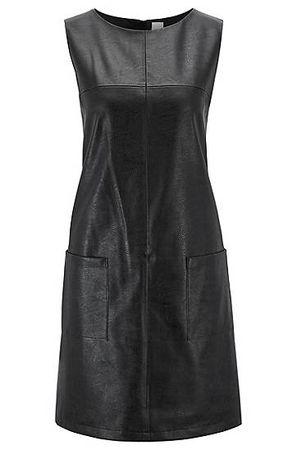 HUGO BOSS Ärmelloses Kleid aus Kunstleder mit aufgesetzten Taschen schwarz