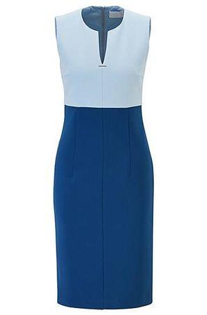 HUGO BOSS Ärmelloses Kleid mit eingekerbtem Ausschnitt und Metallverzierung blau