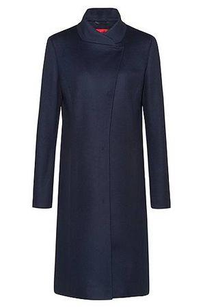 HUGO BOSS Asymmetrischer Regular-Fit Mantel aus Schurwoll-Mix mit Kaschmir grau