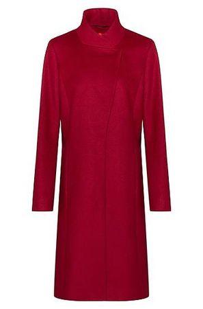HUGO BOSS Asymmetrischer Regular-Fit Mantel aus Schurwoll-Mix mit Kaschmir rot