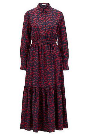 HUGO BOSS Bedrucktes Hemdblusenkleid mit geraffter Taille und verdeckter Knopfleiste braun