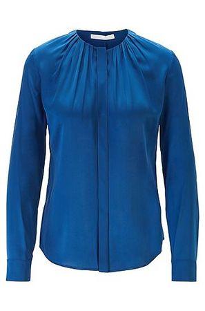 HUGO BOSS Bluse aus elastischem Seiden-Mix mit gerafftem Ausschnitt blau