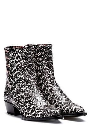 HUGO BOSS Booties aus Leder mit Schlangen-Prägung grau