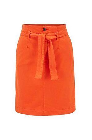 HUGO BOSS Chino-Rock aus Satin mit Bindegürtel orange