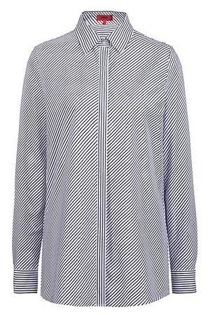 HUGO BOSS Diagonal gestreifte Regular-Fit Bluse mit verdeckter Knopfleiste grau