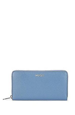 HUGO BOSS Geldbörse aus Saffiano-Leder mit Reißverschluss und Logo-Details grau