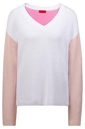 HUGO BOSS Gerippter Colour-Block-Pullover mit V-Ausschnitt braun