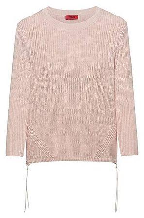 HUGO BOSS Gerippter Pullover aus reiner Baumwolle mit seitlichen Reißverschlüssen braun