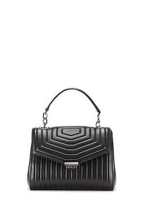 HUGO BOSS Gesteppte Handtasche aus italienischem Leder mit Metalldetails grau