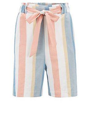 HUGO BOSS Gestreifte Relaxed-Fit Shorts aus elastischem Leinen-Mix mit Gürtel orange