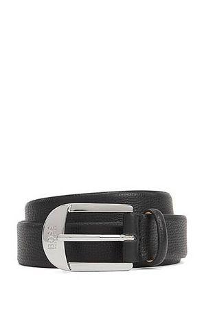 HUGO BOSS Gürtel aus genarbtem italienischem Leder mit Dornschließe grau