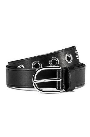 HUGO BOSS Gürtel aus italienischem Leder mit Metall-Ösen und abgerundeter Schließe grau