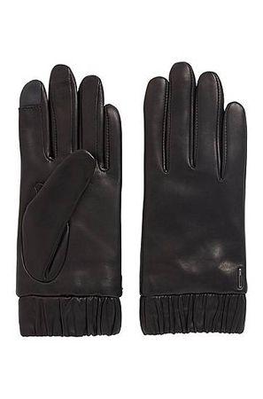 HUGO BOSS Handschuhe aus Leder mit elastischen Bündchen und Touchscreen-Fingerspitzen schwarz