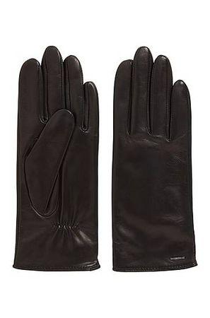 HUGO BOSS Handschuhe aus Nappaleder mit elastischen Bündchen und Metall-Logo schwarz