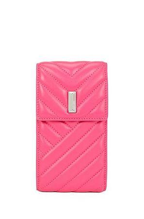 HUGO BOSS Handytasche aus gestepptem Nappaleder mit Kettenriemen pink