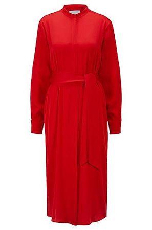 HUGO BOSS Hemdblusenkleid aus Krepp-Georgette mit Bindegürtel rot