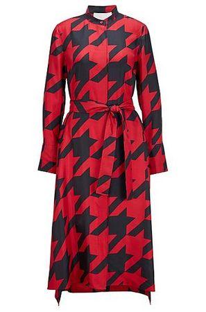 HUGO BOSS Hemdblusenkleid aus Seide mit Hahnentritt-Motiv rot