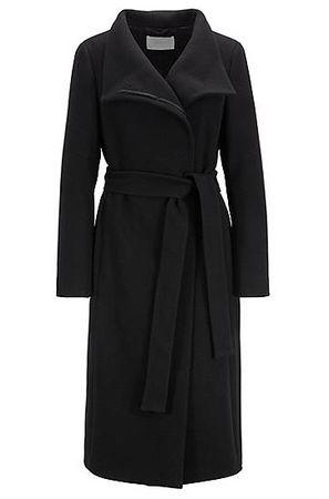 HUGO BOSS Hochgeschlossener Mantel aus strukturiertem Schurwoll-Mix mit Kaschmir schwarz