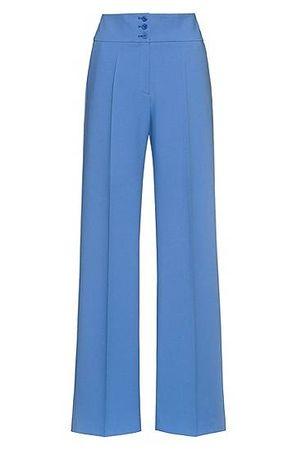 HUGO BOSS Hose mit weitem Beinverlauf und hohem Bund blau