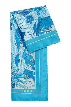 HUGO BOSS In Italien gefertigter quadratischer Schal aus bedrucktem Seiden-Twill blau