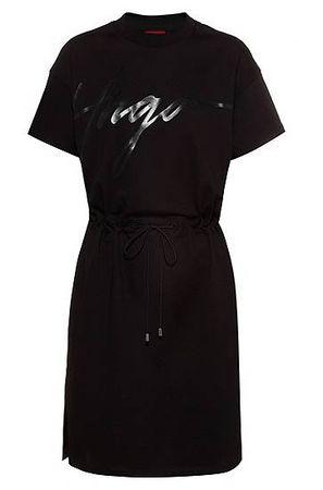HUGO BOSS Jersey-Kleid aus Baumwolle mit handgeschriebenem Logo-Print und Tunnelzugbund schwarz