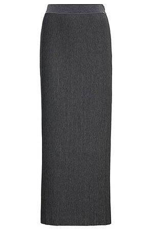 HUGO BOSS Jersey-Maxirock mit feinen Plissee-Falten grau