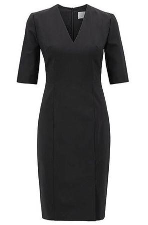 HUGO BOSS Kleid aus italienischer Stretch-Schurwolle mit V-Ausschnitt schwarz