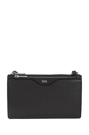 HUGO BOSS Kleine Handtasche aus genarbtem italienischem Leder grau