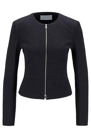 HUGO BOSS Kragenloser Regular-Fit Blazer aus Jersey mit Hahnentritt-Muster schwarz