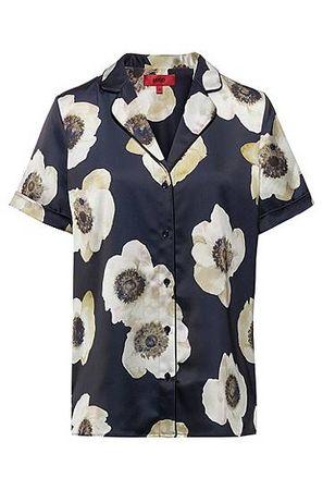 HUGO BOSS Kurzarm-Bluse im Pyjama-Stil mit Anemonen-Print grau