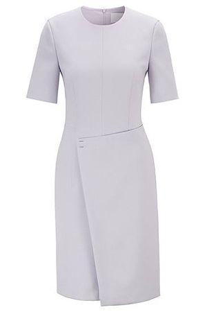 HUGO BOSS Kurzarm-Kleid aus portugiesischem Material-Mix mit Wickelrock grau