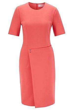 HUGO BOSS Kurzarm-Kleid aus portugiesischem Material-Mix mit Wickelrock rot