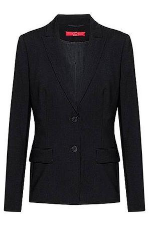 HUGO BOSS Länger geschnittener Blazer aus leicht gekämmter Schurwolle mit Elasthan-Anteil schwarz