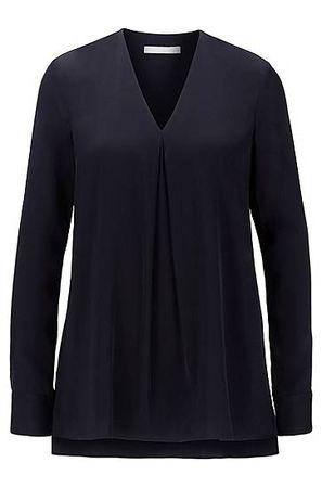HUGO BOSS Langarm-Bluse aus Crêpe de Chine mit V-Ausschnitt schwarz