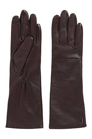 HUGO BOSS Lange Leder-Handschuhe mit speziellen Fingerspitzen für Touchscreens braun