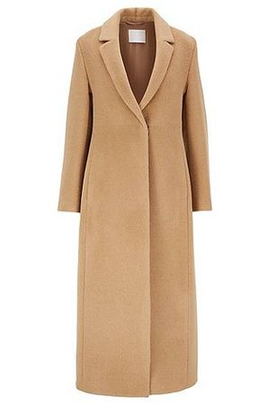 HUGO BOSS Langer Regular-Fit Mantel aus Alpaka mit Schurwolle orange