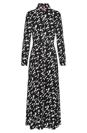 HUGO BOSS Maxi-Hemdblusenkleid aus Baumwoll-Mix mit Stern-Hahnentritt-Print grau