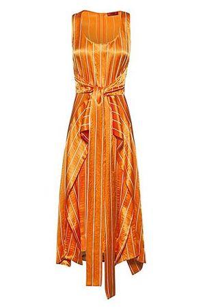 HUGO BOSS Midikleid mit Streifen-Muster, Taillengürtel und Volant-Overlay orange