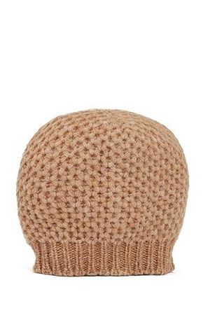 HUGO BOSS Mütze aus Alpaka-Mix mit Wolle und Wabenstruktur braun