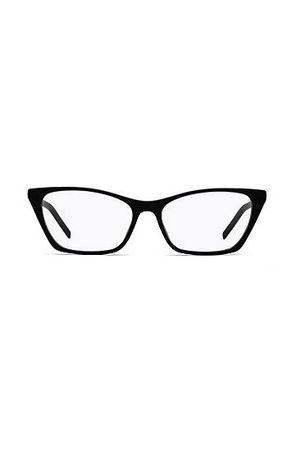HUGO BOSS Optische Brille aus schwarzem Acetat mit abgeschnittenem Logo weiss