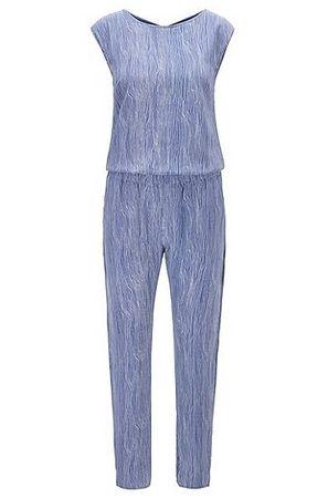 HUGO BOSS Overall aus reiner Seide mit Allover-Print blau