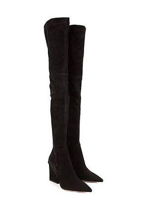 HUGO BOSS Overknee-Stiefel aus italienischem Veloursleder schwarz